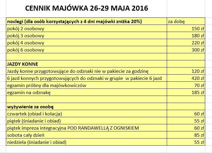 CENNIK MAJOWKA W HUZARZE 2016